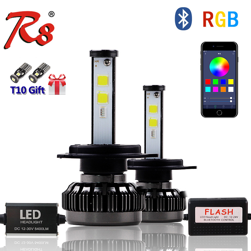 Hot Selling Car Multicolors DIY <font><b>RGB</b></font> Auto LED Headlight Kits H1 H7 <font><b>H4</b></font> H8 HB3 HB4 881 H16 APP Bluetooth Remote Control Fog Light image