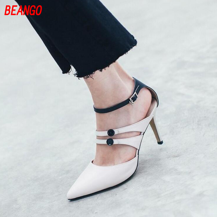 BEANGO 2017 New Spring Summer Thin High Heel Female Sandals Narrow Band Pointed Toe Women Shoe Mixed Color Buckle Ladies Shoes new 2017 spring summer women shoes pointed toe high quality brand fashion womens flats ladies plus size 41 sweet flock t179