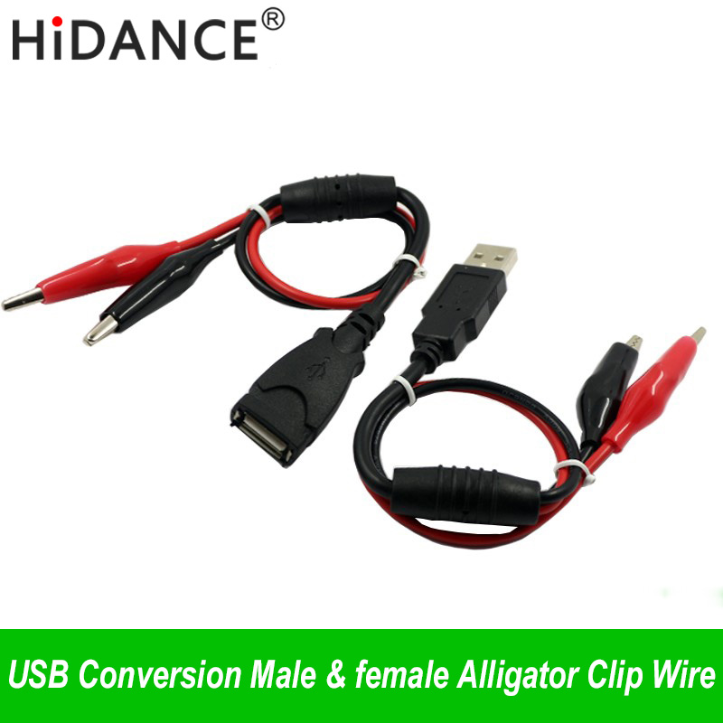 USB Alligator clips Crocodile wire Male/female to USB tester Detector DC Voltage meter ammeter capacity power meter monitor, etc