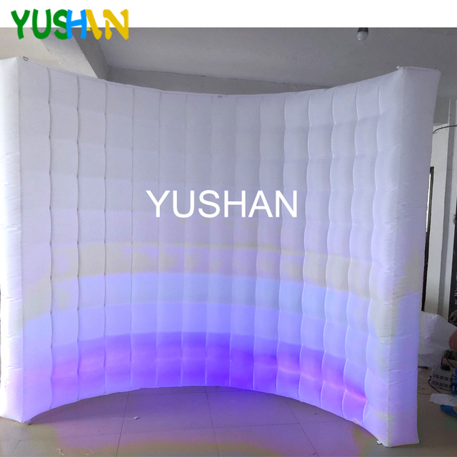 9ft LED Inflatable Photo booth Wall Backdrop 1pc LED strip with Inner air Blower Portable LED wall stand For Christmas parties