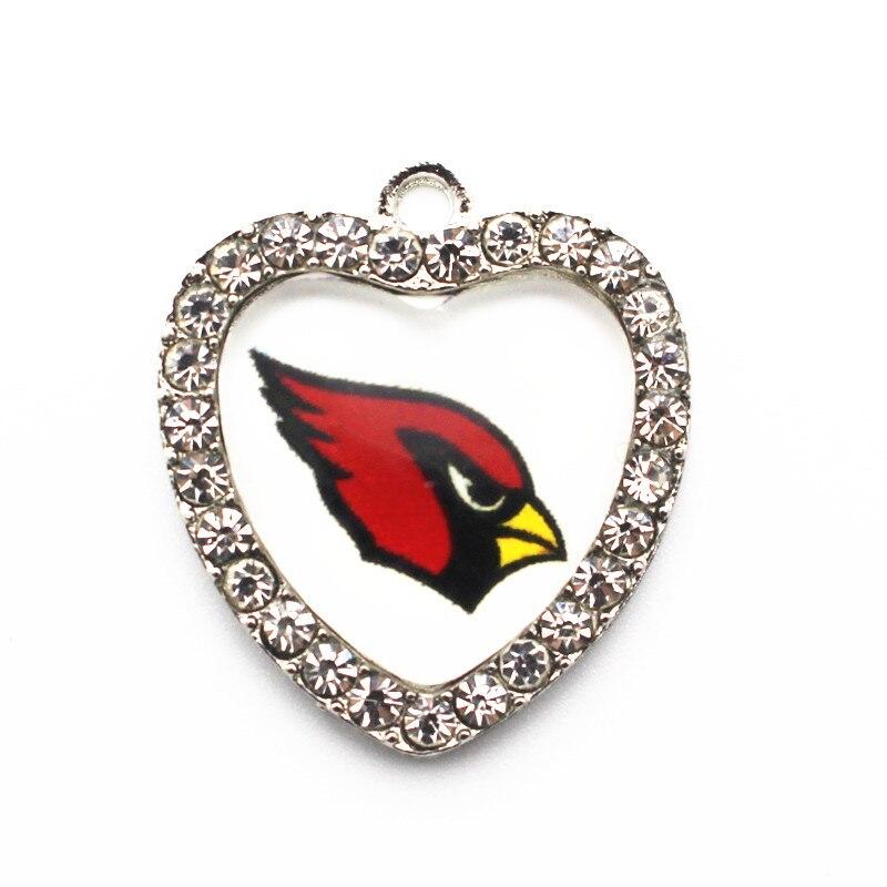 10pcs/lot crystal heart Arizona Cardinals Dangle Charms Designs Rhinestone Sports Football Pendant Hanging Charms DIY Necklace