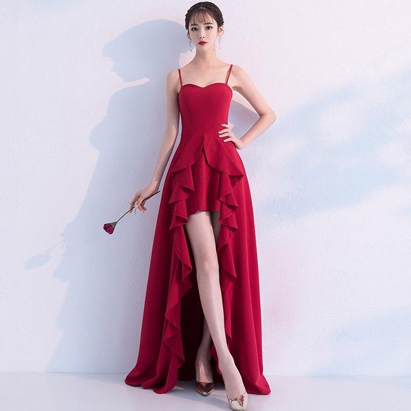 Sexy Backless Split Front Summer Floor Length Red Dress 2019 New Slash Neck Ruffle Dress Red Satin Sleeveless Party Dresses