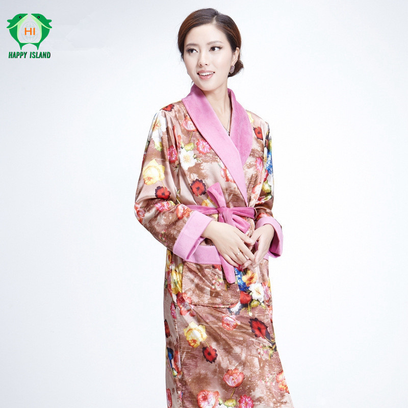 Ladies Long Thicker Bathrobe Women Flannel Kimono Bath Robe Bridal ...