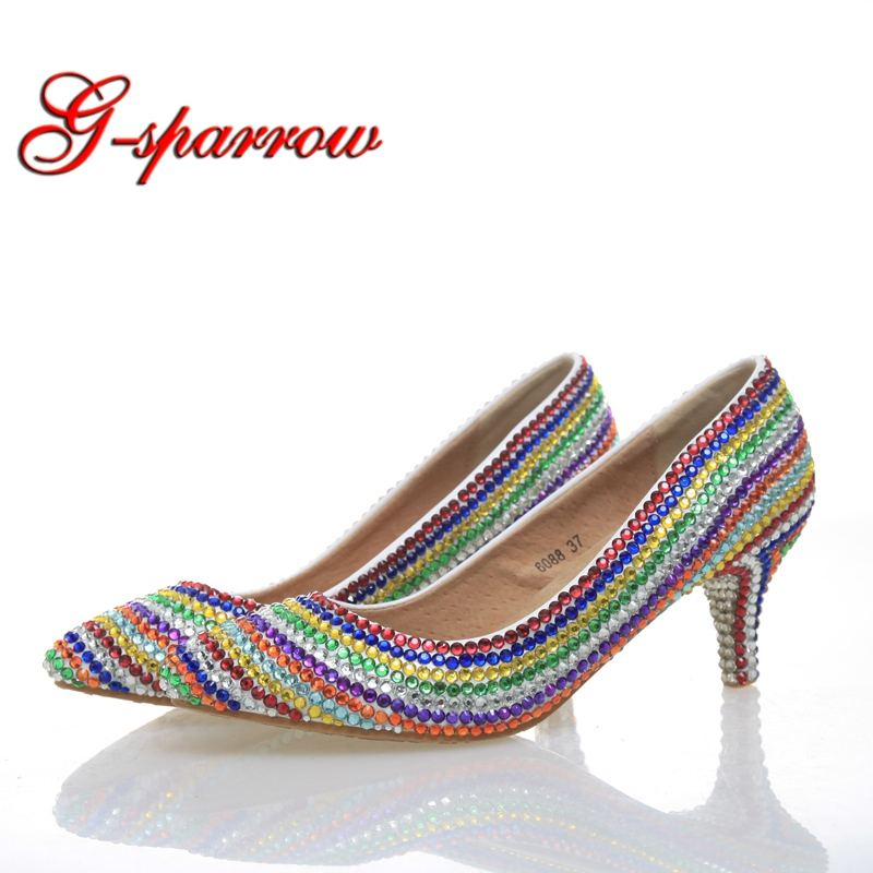 Women Wedding Shoes Platform Pump Sexy Thin Handmade Heels Rainbow Crystal Bridal Kitten Heel Shoes Graduation Party Prom Shoes cinderella high heels crystal wedding shoes 14cm thin heel rhinestone bridal shoes round toe formal occasion prom shoes