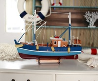 Handmade Solid Wood Fishing Boat Miniature Scale Model Nautical Decoration Gift And Craft Accessories Embellishment Furnishing