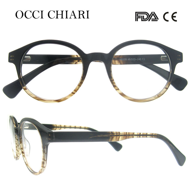 95c33d57d52b OCCI CHIARI 2018 Vintage Design Round Acetate Retro Optical Glasses Frames  Women Clear Lens Eyeglasses Spectacles