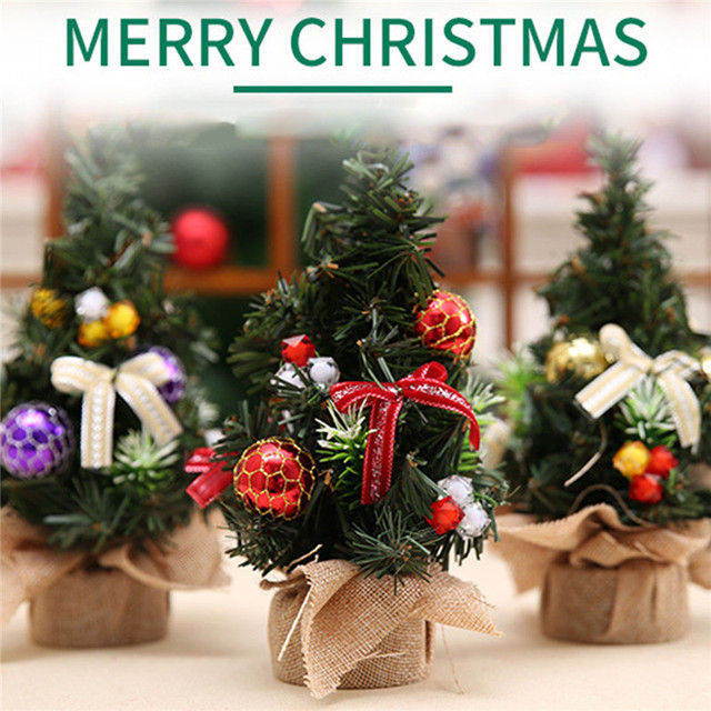 Us 3 41 30 Off Realistic Mini Christmas Tree Cute Plastic Small Xmas Pine Trees Christmas Party Home Desk Table Decorations Ornaments Gift In Trees