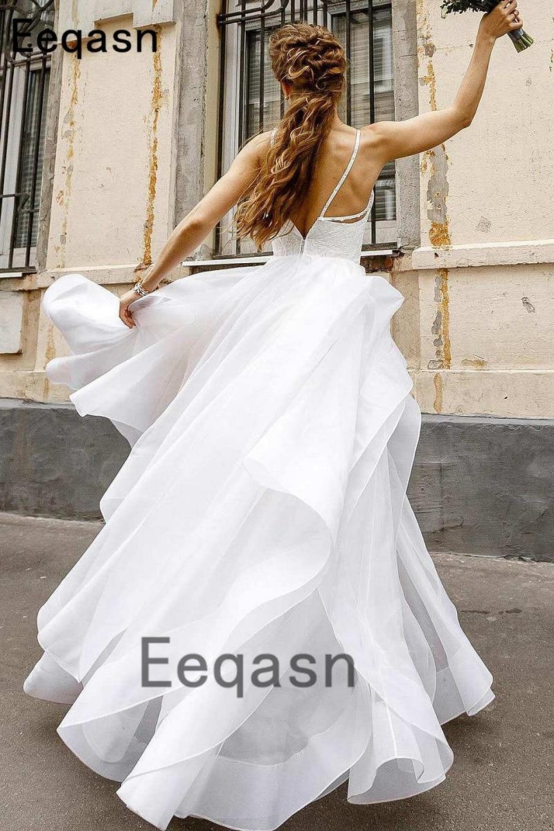 New Flowy Wedding Dress Elegant A-line Spaghetti Straps V Neck Organza  Bridal Gown vestido novia Plus Size. 224 (1)  224 (3) 224 (2)  224 (4) 8a064f3b6459