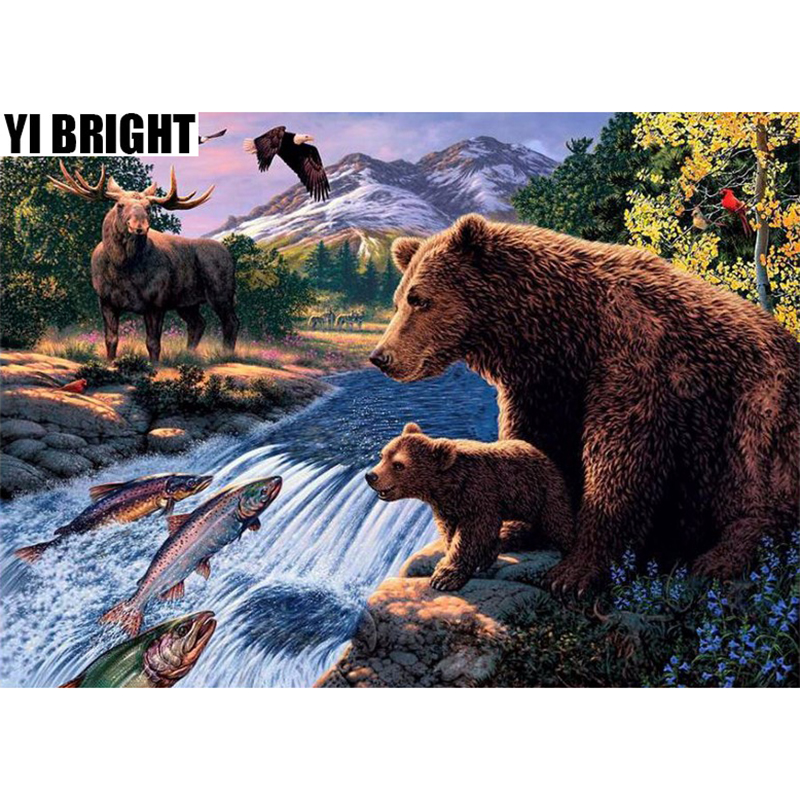 YI BRIGHT DIY 3D Diamond Embroidery,Cross Stitch,Forest Bear Elk Eagle  Mural,Full Square&Round Diamond Painting,Home Decor GT
