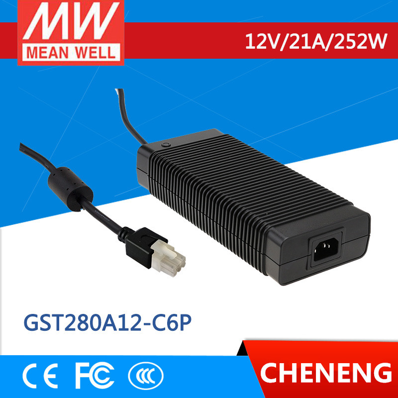 MEAN WELL original GST280A12-C6P 12V 21A meanwell GST280A 12V 252W AC-DC High Reliability Industrial Adaptor
