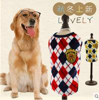 Autumn Winter Flannel Soft Dog Vest Diamond Pet Shirt British Pet Clothes Husky Labrador Retriever Large