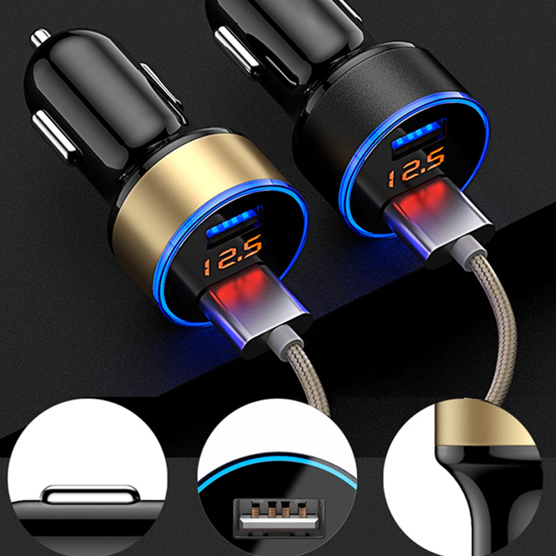 USB Car Cigarette Lighter Car Charger LED Display Cigarette Lighters Voltmeter Socket Splitter Cars Socket Splitter Auto Charger(China)