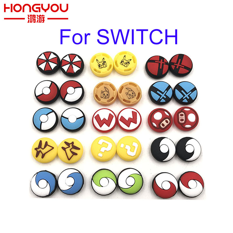 2pcs Silicone Analog Thumb Stick Grips Caps for Nintend Switch NS JoyCon Controller Sticks Cap Skin for Joy Con Cover(China)