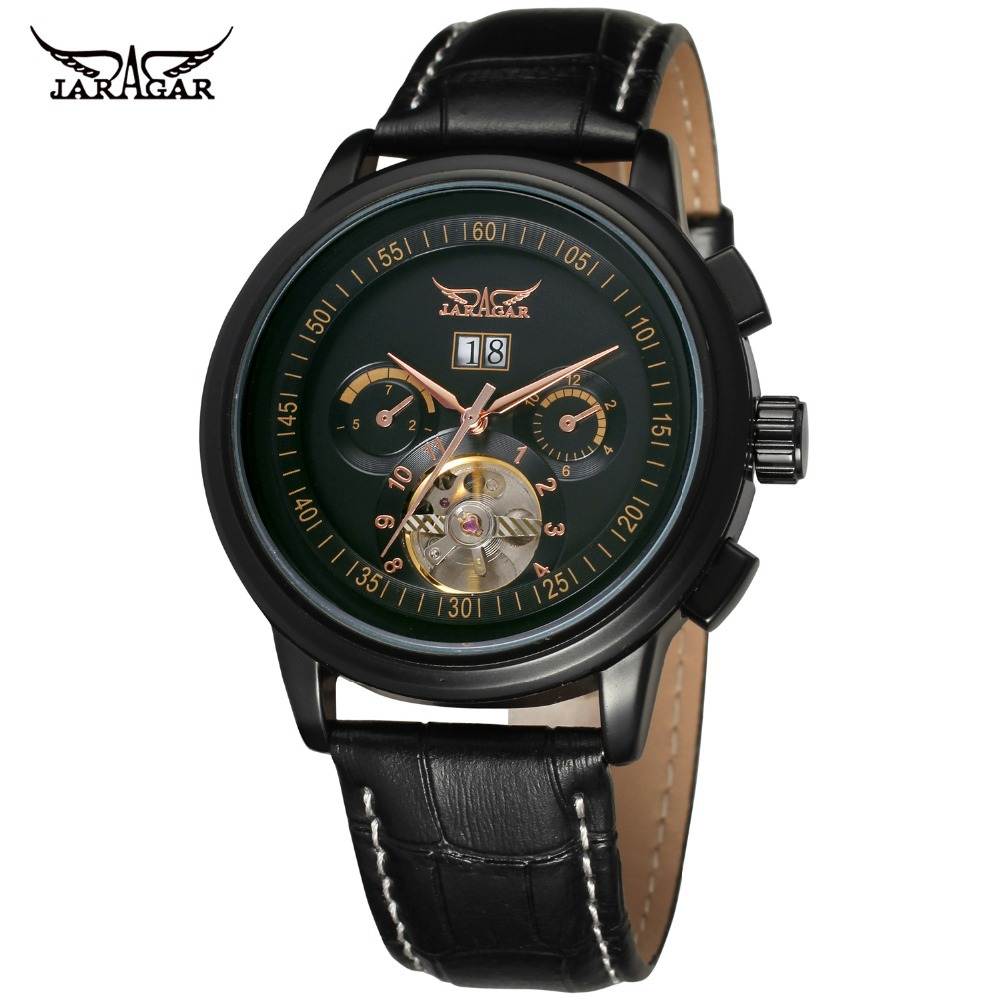 Jargar Men's Watches New Style  Tourbillon Complete Calendar Genuine Leather Brand Wristwatches Color Black JAG16557M3