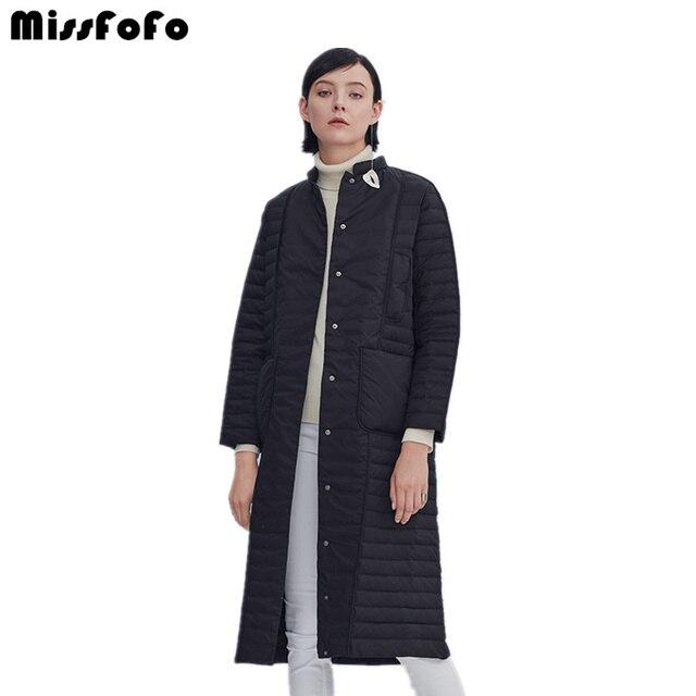MissFoFo новый бренд 2017 тонкие женские длинные вниз пальто мода стоять воротник свободный пуховик Верхняя одежда белая утка вниз