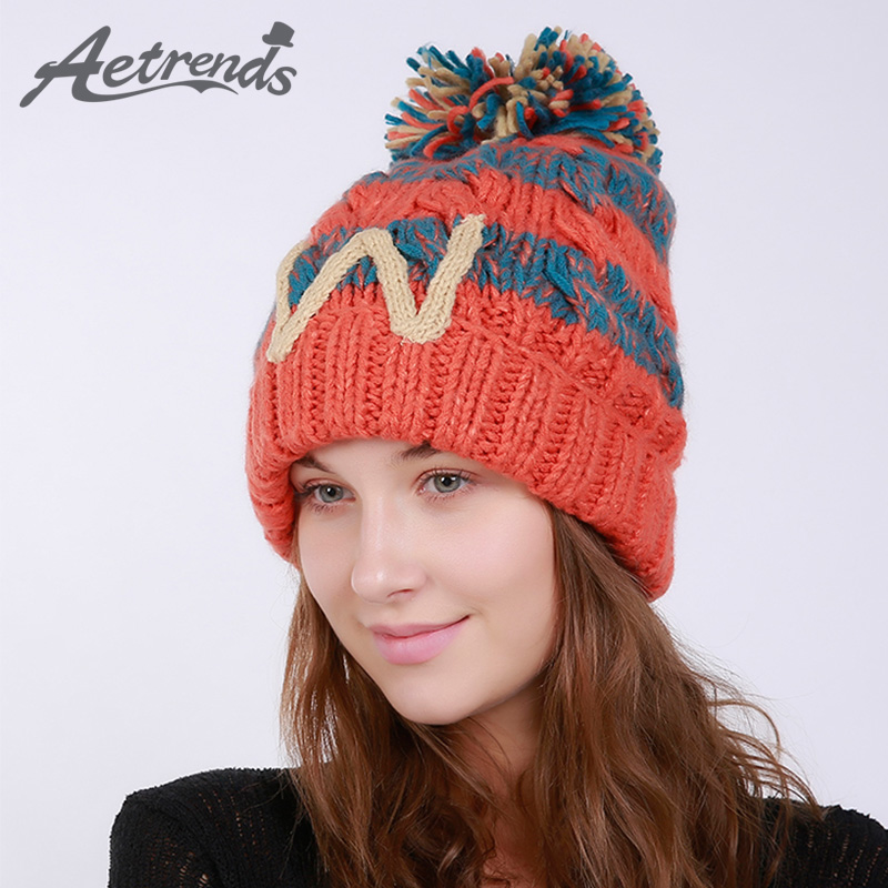 [AETRENDS] 2017 Winter Beanie Hats for Women Warm Knitted Female Caps Beanies Pompom with Top Ball Z-5996 2016 new beautiful colorful ball warm winter beanies women caps casual sweet knitted hats for women outdoor travel free shipping