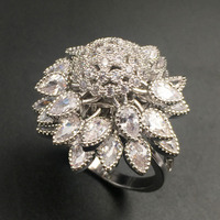 HADIYANA Shinning Cubic Zirconia Tree Shape Moving Leaf Luxury Finger Ring For Women Wedding Prom Party