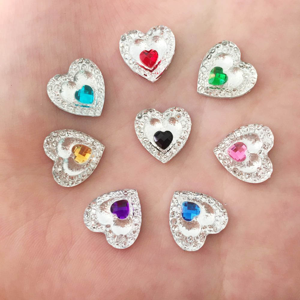New heart Resin 120pcs 12mm Double Heart Flatback Wedding Decoration Diy  Craft C63A 3 765ef25154ff