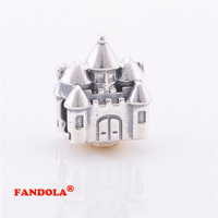 Fits Pandora Charms Bracelet 925 Sterling Silver Beads Castle & Crown Charm for Women DIY Jewelry Making FL038