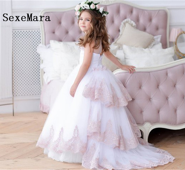 b666823d394 White Flower Girl Dress with train Champagne Lace Layered Junior Bridesmaid Dress  Little Girls Dress Wedding Party Birthday Gown