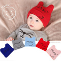 Baby Hat 0-2 years old baby Cute Cartoon Cat Ear Children Hats Smiling Face Milk Letters Cap