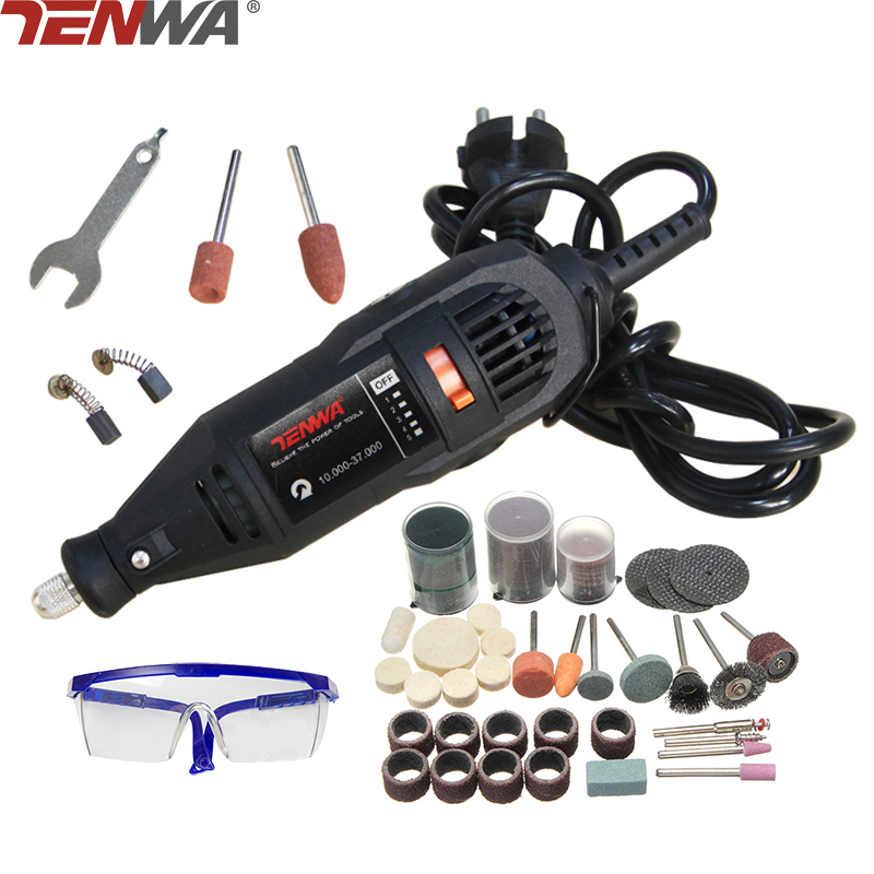 TENWA Mini Drill Dremel Style Electric Rotary Tool Engrave Grinder Variable Speed With 111pcs Accessories DIY Kits 110 230v mini grinder electric dremel drill engraver regulating speed grinding machine for milling polishing dremel accessories