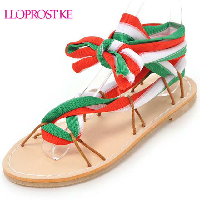 db3ea7b6d3a LLOPROST KE New Women Sandals Gladiator Casual Lace Up Flat Sandals Fashion  Women Cross Tie Ankle Strap Summer Sandals MY213