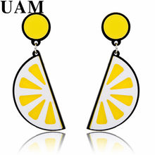 Punk Klub Malam Mode Telinga Perhiasan Hip Hop Acrylic Buah Lemon Drop Earrings Wanita Wanita Hadiah Natal Perhiasan(China)