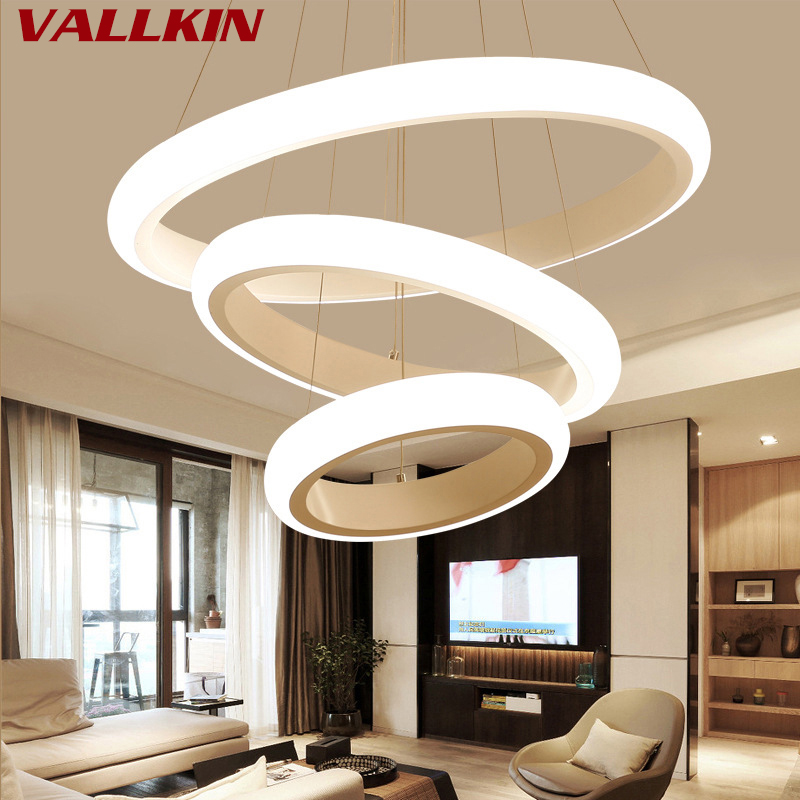 купить Modern Simple Living Dining Lamp Creative Chandeliers Lights Personality Round Ring LED Acrylic Chandelier Restaurant Lighting по цене 5164.46 рублей