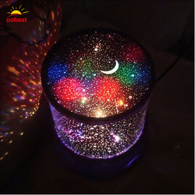 Oobest Room Novelty Rotating Night Light Projector Lamp Rotary Flashing  Starry Star Moon Sky Star Projector