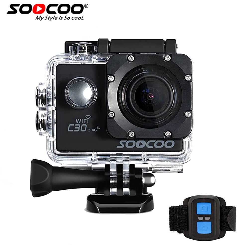 SOOCOO C30R 4K Sports Action Camera Cam Wifi 4K Gyro Adjustable Viewing angles(70-170 Degrees) NTK96660 with Remote Control