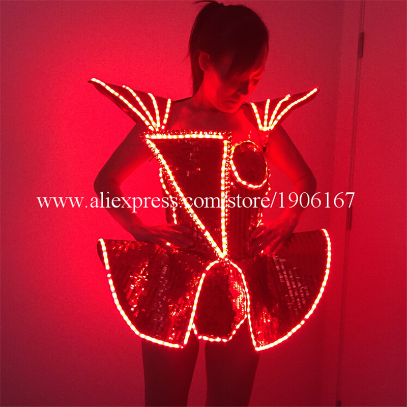 LED Lady Sexy font b Clothing b font Luminous Flashing Women Dress Costumes Suits Party Dance