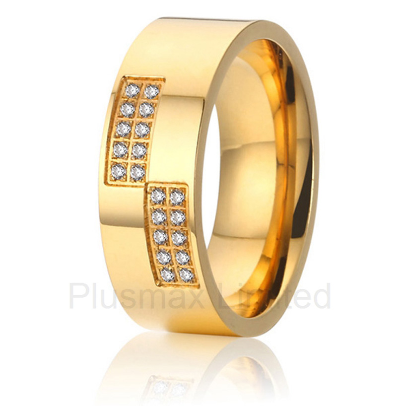anel masculino ouro cheap pure titanium jewelry gift for women cz stone promise wedding rings anel feminino ouro gold color two color europe style cheap custom titanium promise wedding rings band women