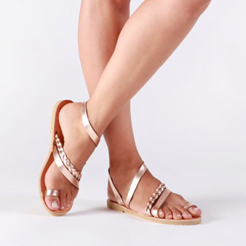 722219bab4140 US $10.29 40% OFF|Beach Peep Toe Leather Flat Sandals Women Strappy  Gladiator Sandals Women Flat Narrow Band Slip On Solid Back Strap Summer  Shoes-in ...