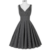 Belle Poque 2017 Plus Size Women Summer Dresses 50s 60s Style Vintage Retro Polka Dot Pin