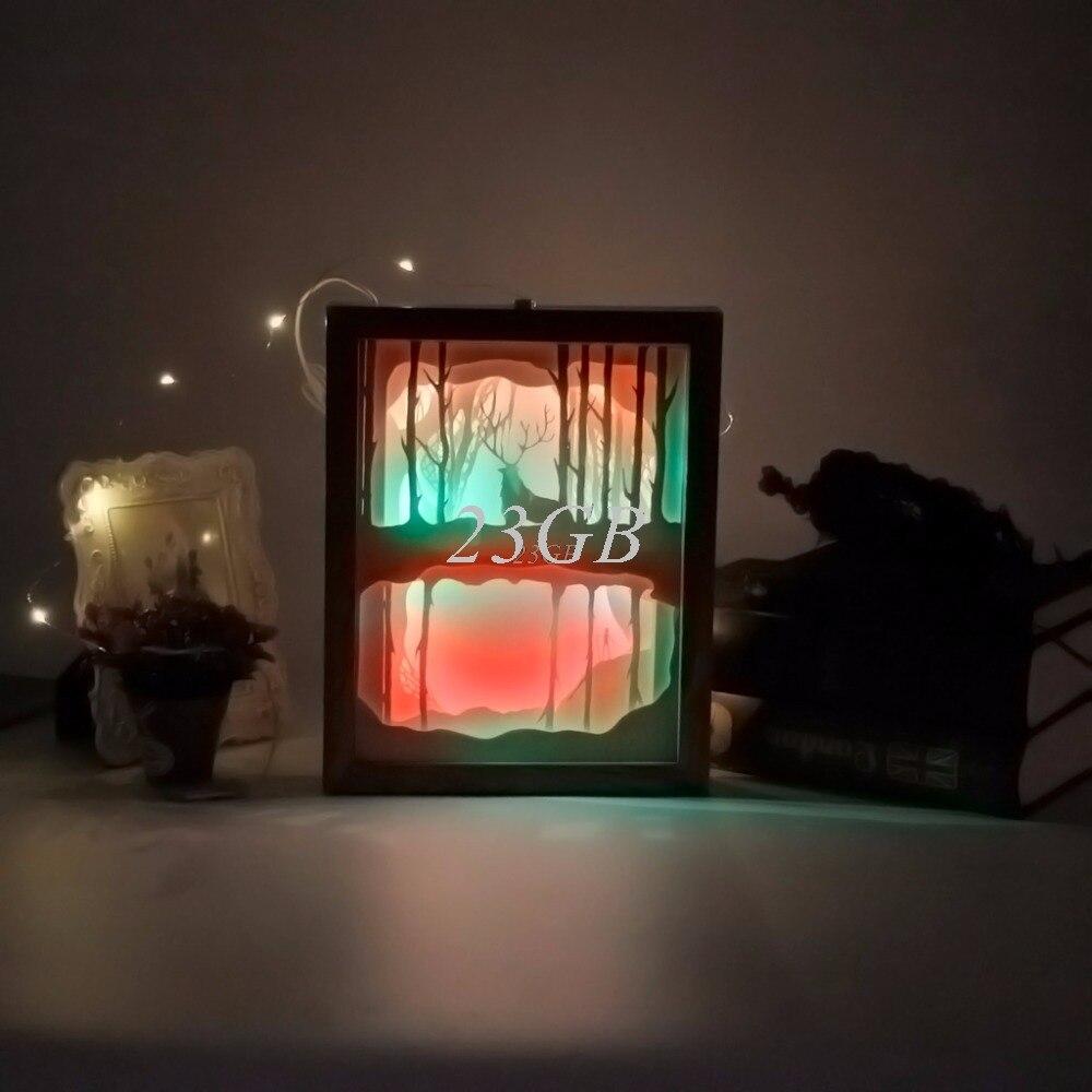 Papercut Light Box LED USB Night Light Lamp Creative Paintings Deer Woods M02 papercut light box led usb night light