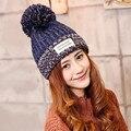 Fashion Women's Warm Woolen Winter Hats Knitted Fur Cap For Woman Letter Skullies & Beanies 6 Color Gorros Cute Hat Warm Caps