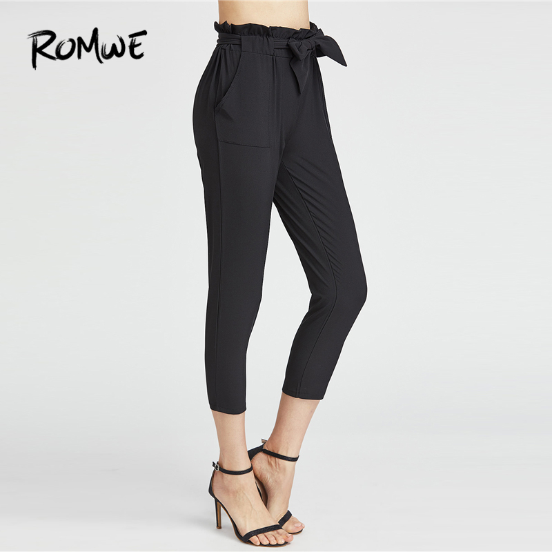ROMWE Ruffle Waist Self Tie   Capri   Belted Frill Knot   Pants   Female Spring Summer Autumn Casual Workwear Mid Waist Crop   Pants