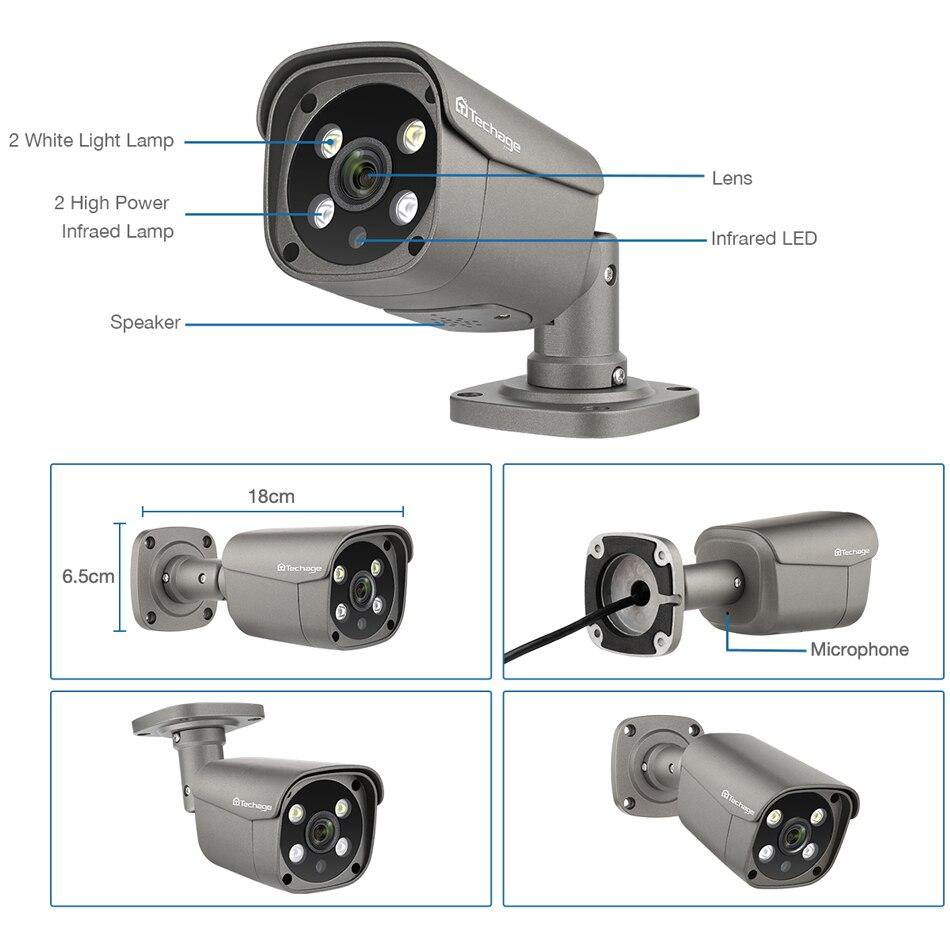 Techage 4CH 5MP POE NVR AI système de caméra IP de détection humaine H.265 Kit Audio bidirectionnel de Surveillance vidéo de vidéosurveillance de sécurité HD extérieure - 3