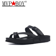 MVP BOY Plus Size 35-45 New fashion Summer Slippers Shoe Men Casual PU Leather Flip Flops Holiday Beach Slides Flat With