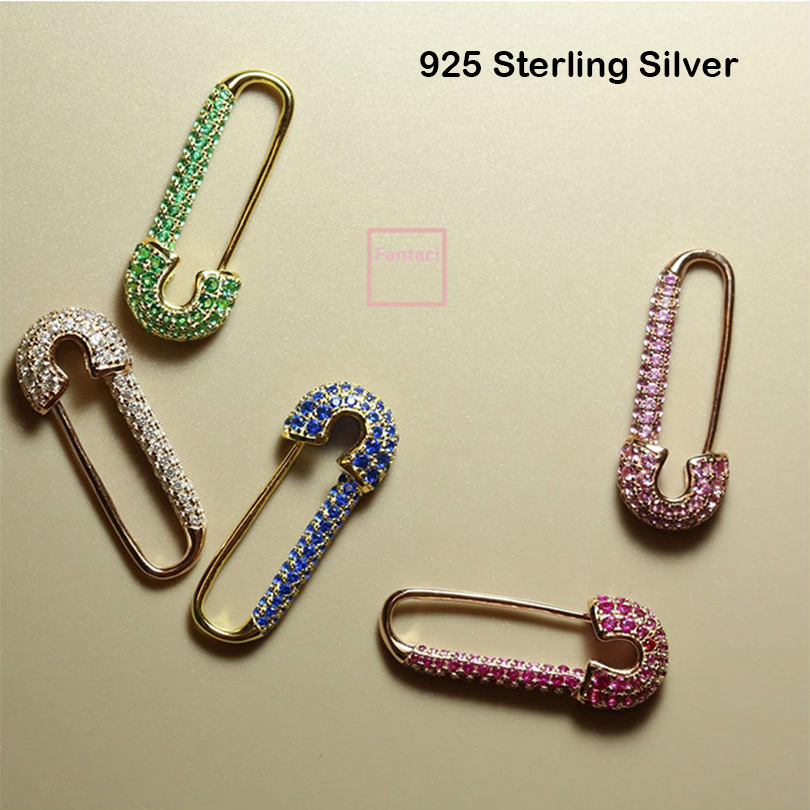 Fashion Safety Pins Paperclip Earrings For Women 925 Sterling Silver Rhinestone Earrings 2019