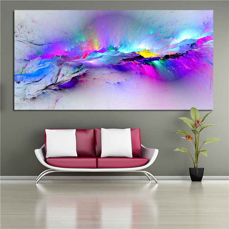 Abstract Art Painting Colorful Clouds Huge Size Wall