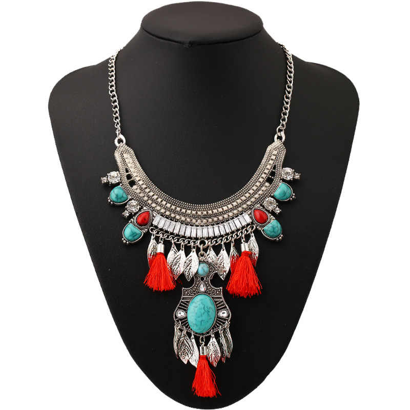 Naomy&ZP 2017 Fashion Long Tassel Necklace Collar Choker Ethnic Vintage Big Bohemian Maxi Statement Necklace For Women Jewelry