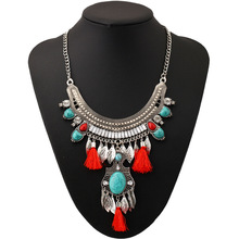 2016 Fashion Big Bohemian Long Tassel Necklace Collar Choker Turquoise Ethnic Vintage Maxi Statement Necklace Women Fine Jewelry stylish faux turquoise carving leaf tassel necklace for women