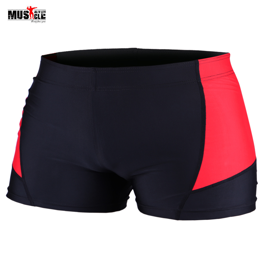 MUSCLE ALIVE Board Shorts For Men Bodybuilding Fitness Gyms Short Pants Bottom Spandex Polyester Black Red Orange Size M L XL