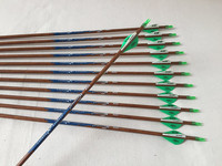 12pcs Archery carbon arrow wood skin arrow shaft spine400 ID6.2mm 2plastic vane 100grain replaced arrowhead for compound bow