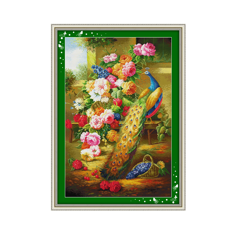 Beautiful peacock animal pattern cross stitch, flowers 11CT 14CT suite embroidery with Chinese characteristics