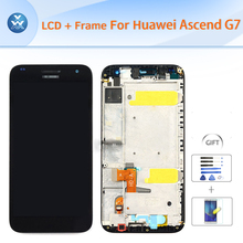For Huawei Ascend G7 original LCD with frame full assembly LCD display glass touch screen digitizer+Frame+Tools black white 5.5