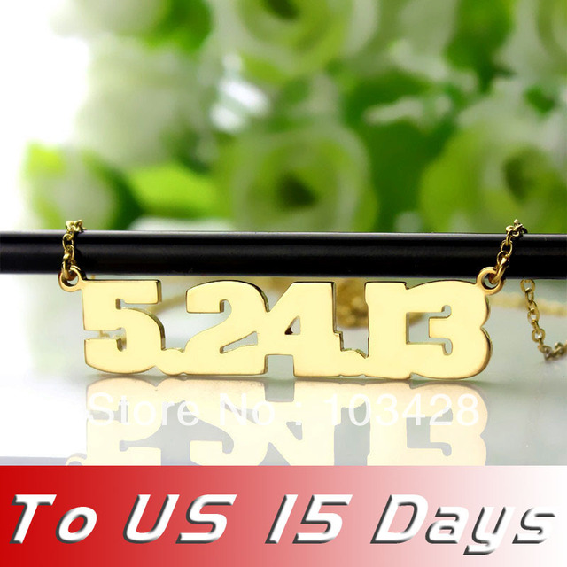 3e649188b65ca5 Freeshipping- Personalized Jewelry for men Gold Number Necklace Number  plate Name Necklace Charm Gift