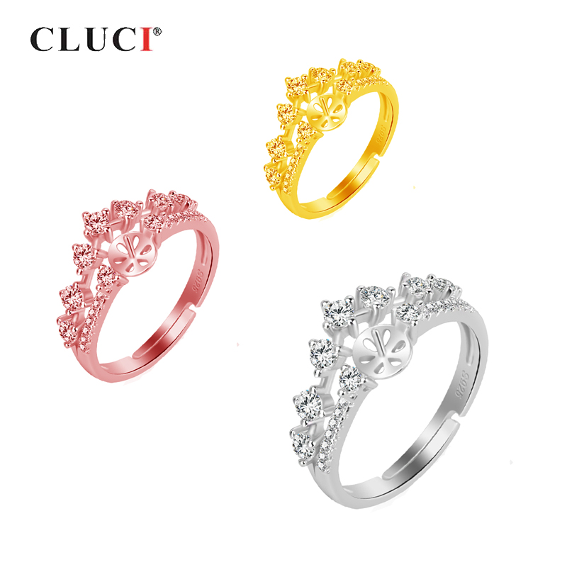 CLUCI 925 Sterling Silver Crown Ring for Women Bride Bijoux Adjustable Wedding Crown Rings Luxury Jewelry Gifts For WomenCLUCI 925 Sterling Silver Crown Ring for Women Bride Bijoux Adjustable Wedding Crown Rings Luxury Jewelry Gifts For Women